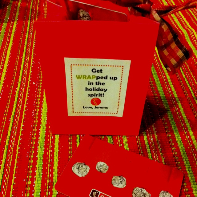 """get WRAPped up in the holiday spirit"" with burrito or pita place gift card"
