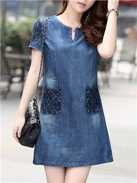Solid Color Short Sleeve Loose Denim Short Day Dress