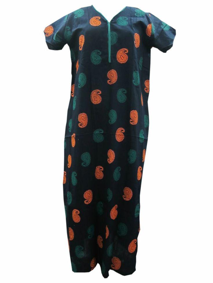 Cotton Maxi Everyday Wear Dress Nighty Paisley Print Nightgown