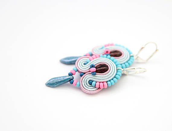 Pink and blue earrings pastel blue earrings candy earrings