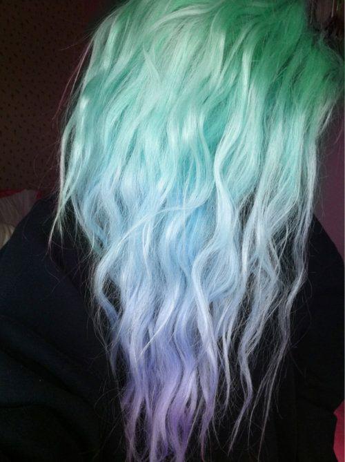 green blue purple ombre hair
