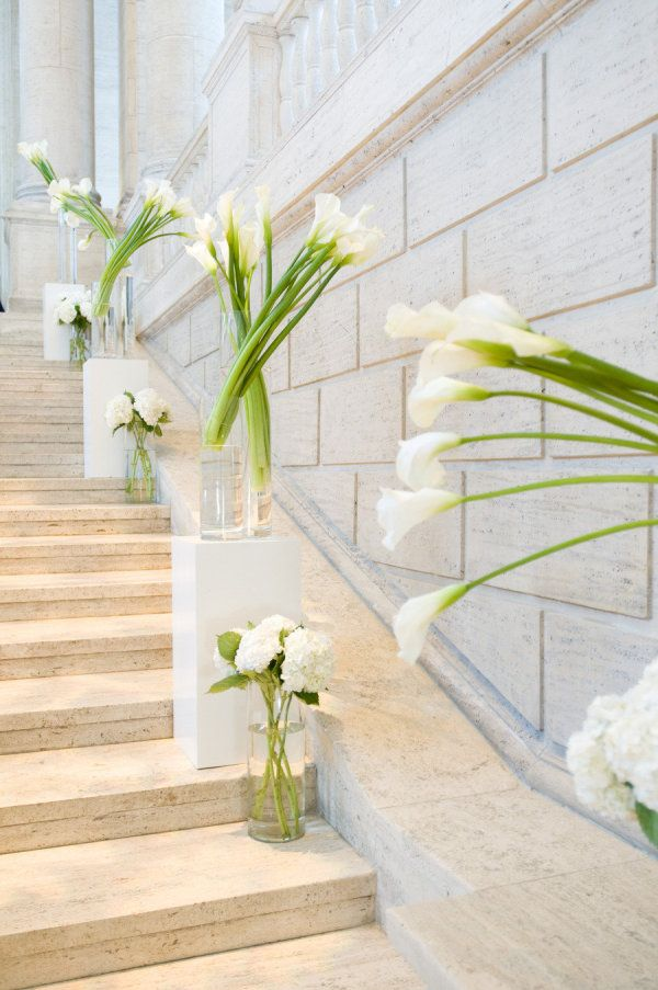 Calla Lily wedding decor super pretty in stairwell in the inn for reception!!!