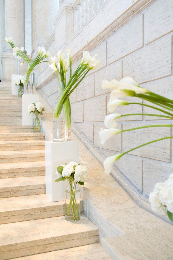 Calla Lily wedding decor super pretty in stairwell in the inn for reception!!!