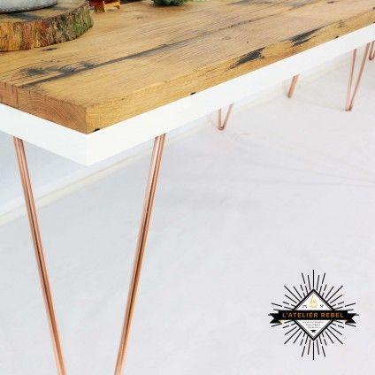 La Rebel - Artist Hairpin eetkamertafel Koper / Wit / Wagon Eiken 180x90cm  #designtafel #design #interior design #eetkamer #dining table #tafel #koper #haarpin #hairpin