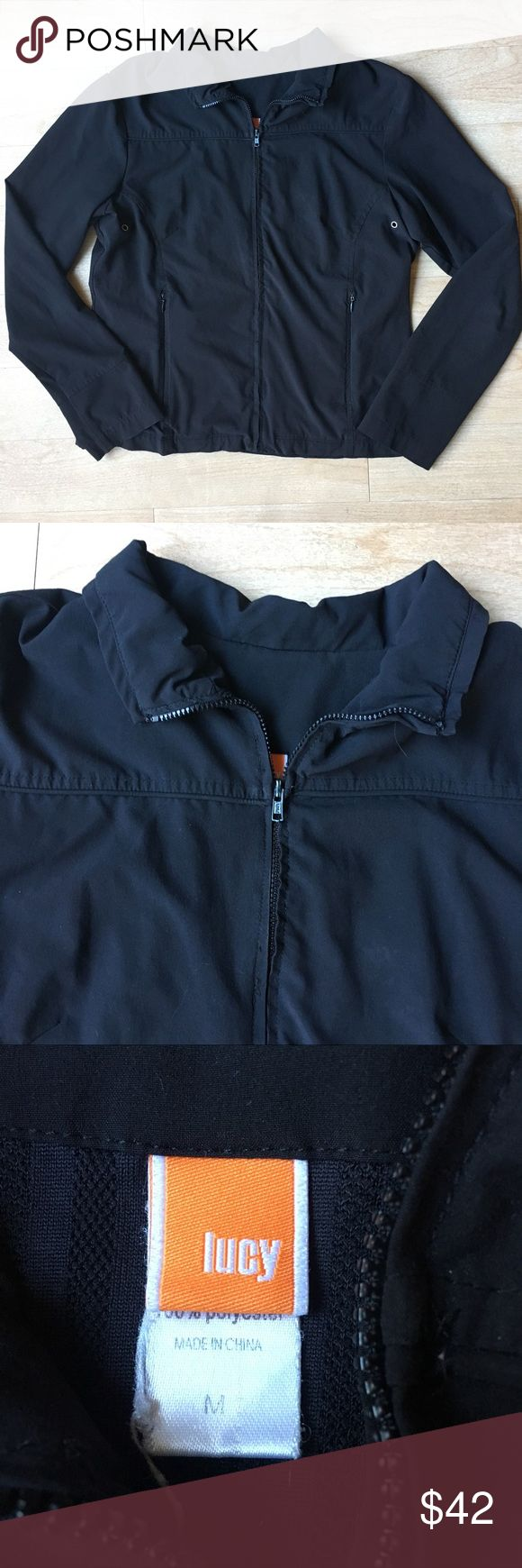 Lucy Athletic Lightweight Workout Zip Up Jacket M Excellent Condition. Lucy activewear full zip up breathable quick drying workout jacket. Perfect for running or outdoor workouts! Color is black. Lined. 100% Polyester. Size Medium Lucy Jackets & Coats
