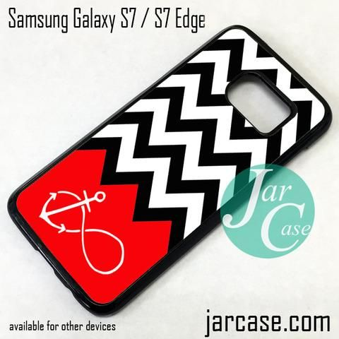 Black White Chevron Red Infinity Anchor Phone Case for Samsung Galaxy S7 & S7 Edge