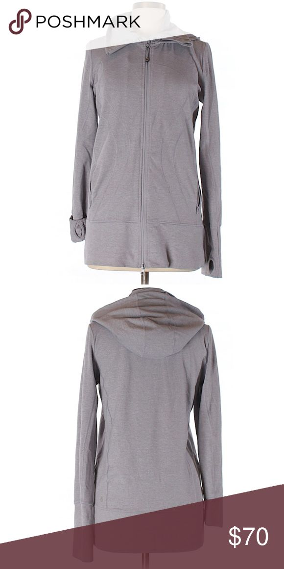 Lululemon Stride Jacket Very good condition but missing the hood drawstring and zipper pull is unraveling a bit. Its a grey color but to me it looks like it has a little hint of purple as well. No neckline tag but size tag (10) in pocket. Lined hood and pockets, high collar, thumbholes. lululemon athletica Tops Sweatshirts & Hoodies