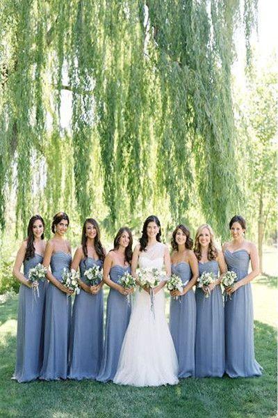 2016 Pretty A-line Long Sweetheart Simple Cheap Chiffon Bridesmaid Dresses K125