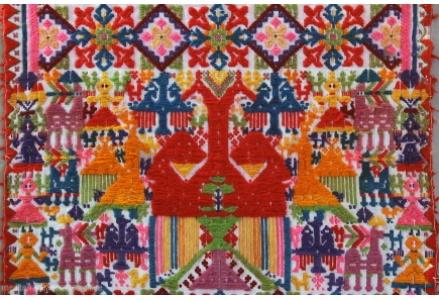 Esempio di tessitura 'a bagas' - Particolare di un copricassa - San Sperate