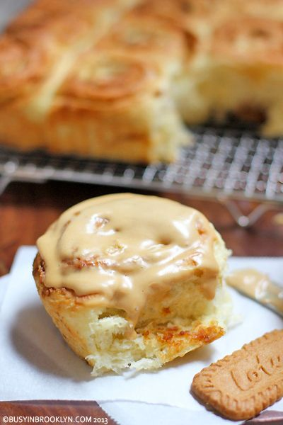 Lotus Cookie Cinnamon Buns with Speculoos Cream Cheese Frosting!