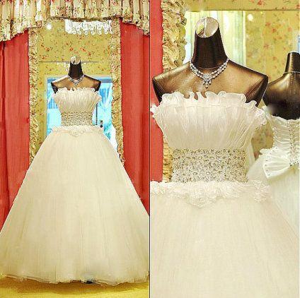 2013 new luxury Crystal Rhinestone lace bow tie bra Princess thin gauze  Wedding Dress Wedding Gown