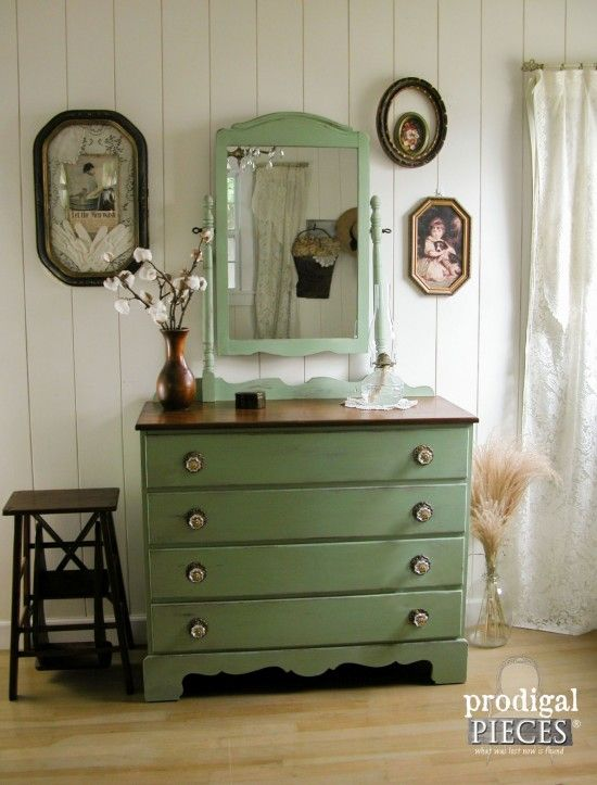 Outdated orange 1980's dresser found on Craigslist isn't stylin' anymore. Time for a prairie charm makeover using milk paint and a bit of DIY. Come see!