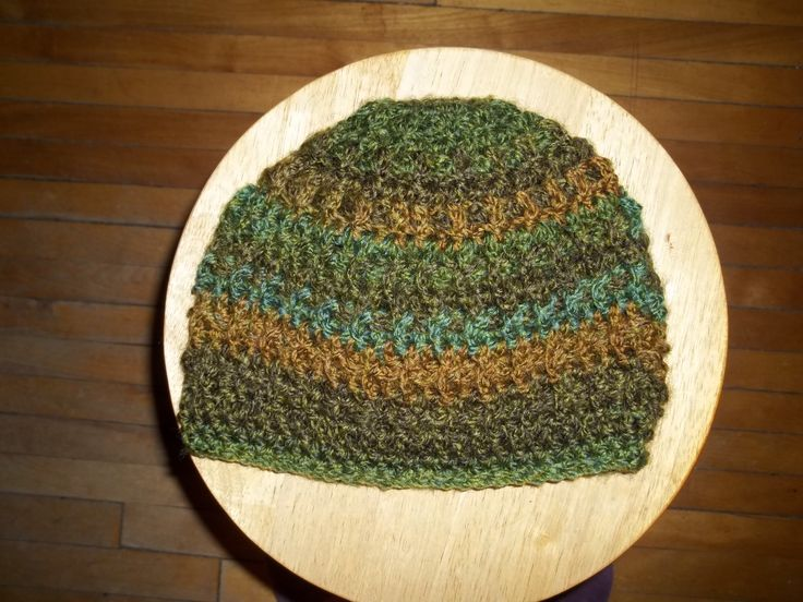 A simple Beanie.  Front and back post double crochet. I used Lion Brand Yarn - tweed stripes Free pattern from Gloria Clayton & James Lee Kelly in Ravelry  I followed the pattern to the bottom of the hat. I added an extra row and finished with a simple stitch