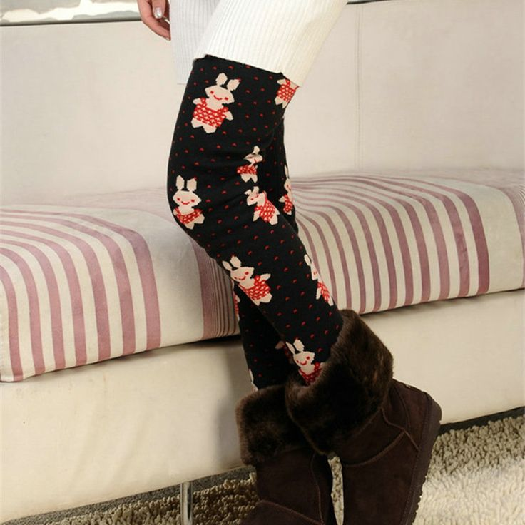 Fashion Printed Leggings Warm Thick Plus Cashmere Winter Leggings Pants Slim High Elasticity Womens Leggings Trousers 609