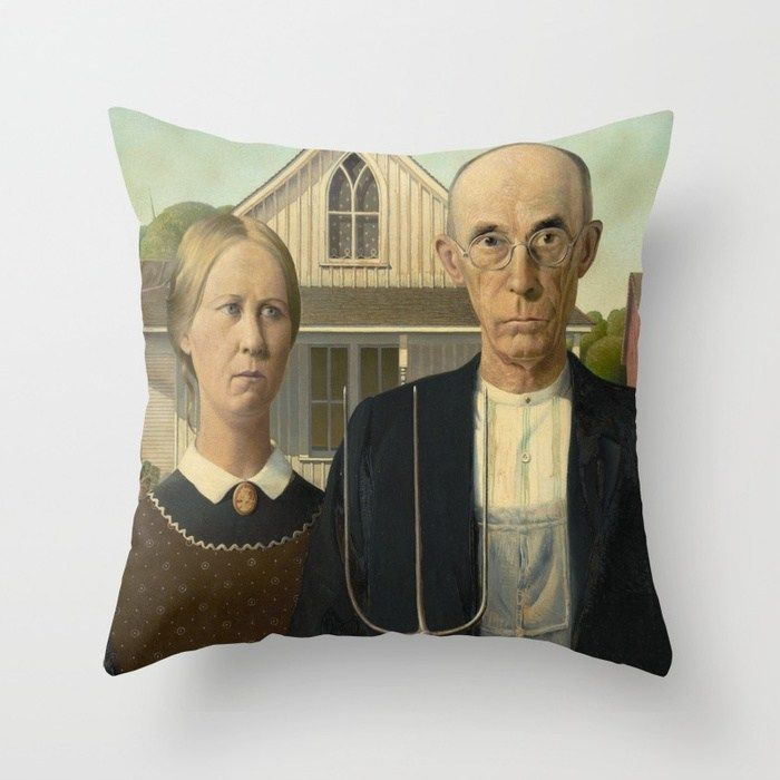 American Gothic Oil Painting By Grantwood Throw Pillow Grant Wood American Gothic American Gothic Painting American Gothic