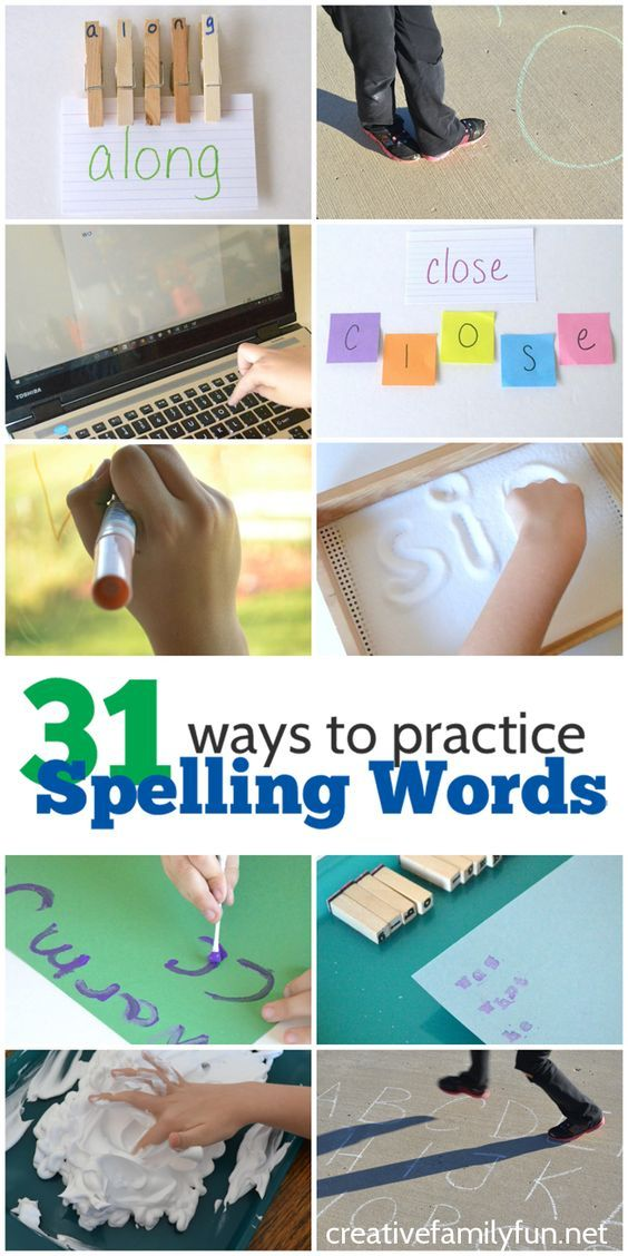 31 Ways to Practice Spelling Words. Fun and creative ideas to help kids have fun while they're learning. They'll love practicing their spelling words!