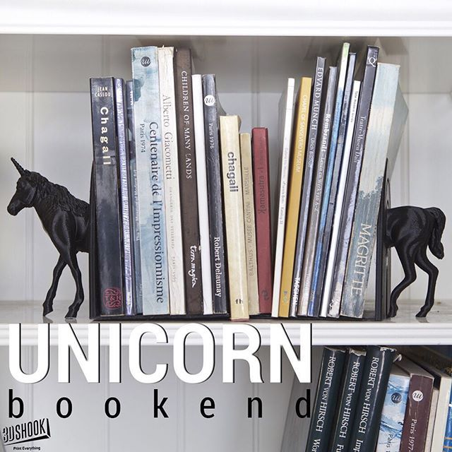 """@3dshook's photo: """"The one place where unicorns definitely exist are books. Decorate your shelves with this mythical bookends. #3dprinting #3dprinted #3dshook #books #bookworm #library #book #unicorn #bookends #shelves #instagood #hobby #diy #home #homedecor #interiordesign"""""""