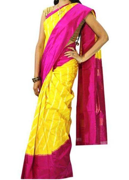 ikat yellow color saree