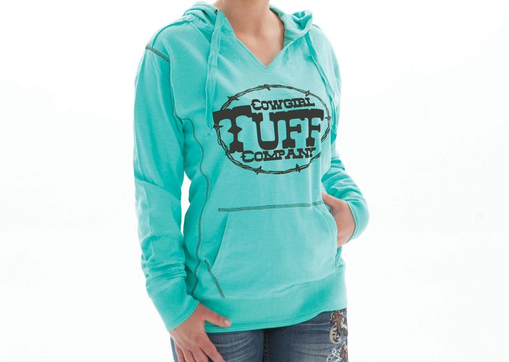 Cowgirl Tuff Women's Turquoise Hoodie W. Brown Velvet Design 100005