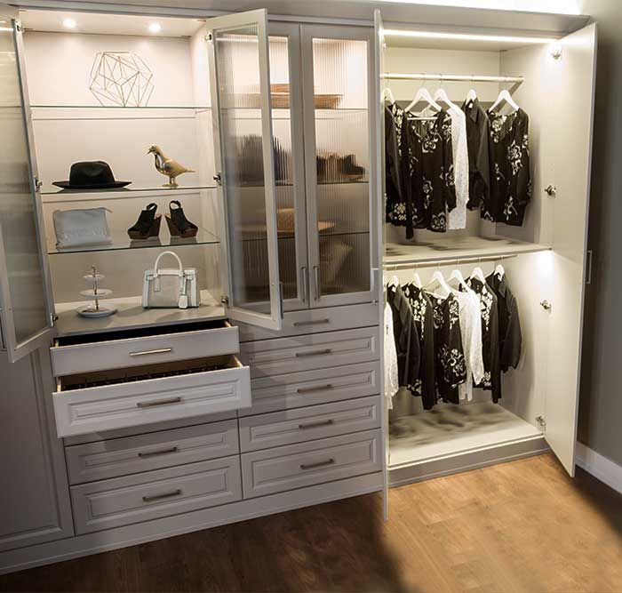 Wardrobe Style Closet With Led Lighting System