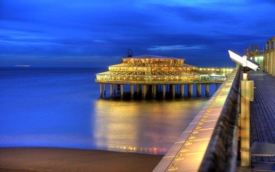 Scheveningen, Holland,  pier by night