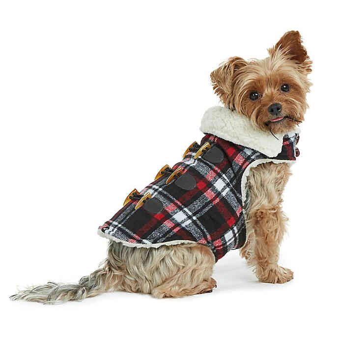 Bee Willow Home Plaid Melton Sherpa Lined Dog Coat In Black