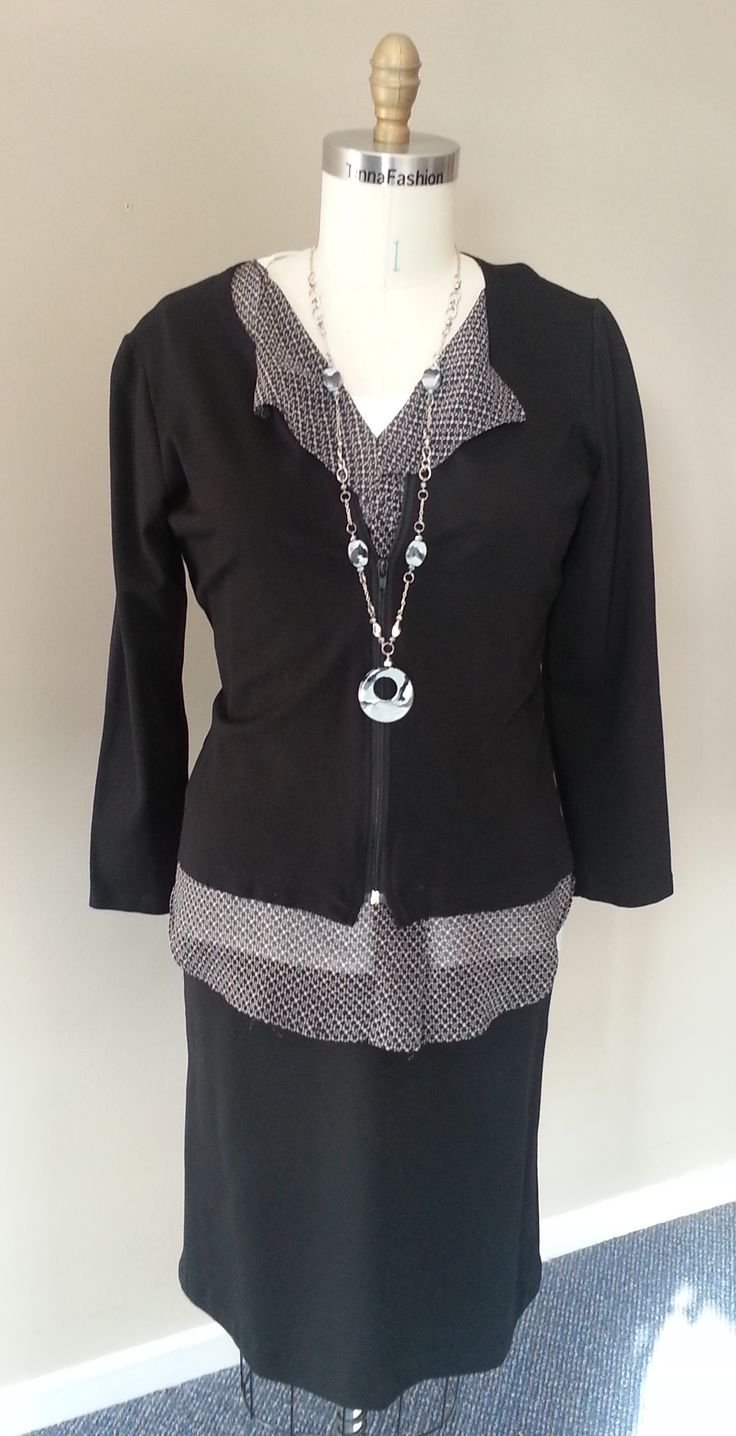Fitted Shirt and Fitted Jacket in Ponti Fabric and Soft Shirt