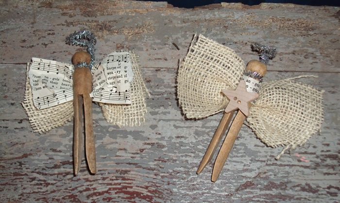 christmas ornaments made from vintage quilts | These were made using old clothespins, burlap, sheet music & silver ...