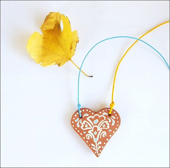Terracotta minimal heart necklaceFREE SHIPPING by IoannasVeryCHic,