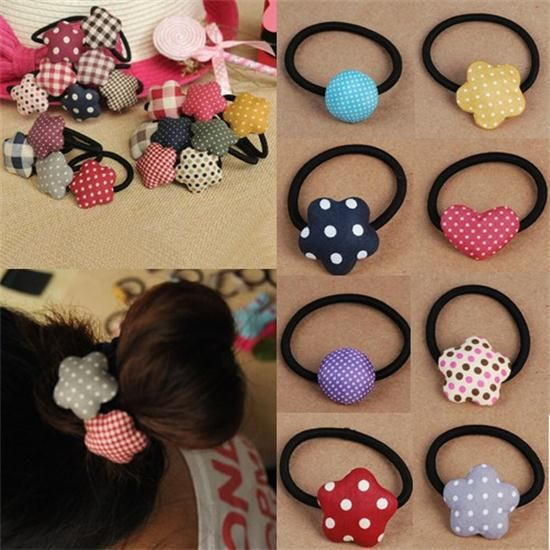 Korean Cute Bow/Love/Heart/Striped Elastic Hair Ring Hair Rope Ties Ponytail Holder for Women Hair Accessories Free Shipping
