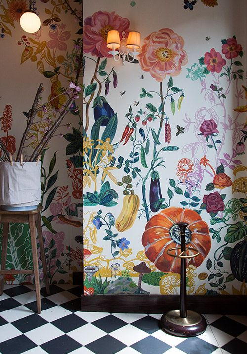 Design*Sponge Tour of Bakeri in Greenpoint (Photos by Max Tielman) - beautiful floral wallpaper