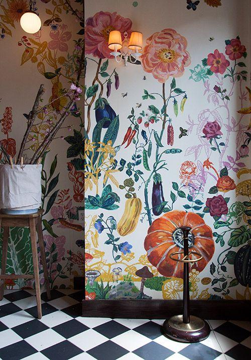 Design*Sponge Tour of Bakeri in Greenpoint (Photos by Max Tielman) - beautiful floral wallpaper