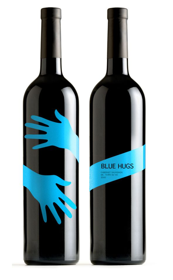 "This is a really net design idea. The company name ""Blue Hugs"" is perfectly paired with the blue hands wrapping around the bottle. I've been pretty consistent in picking out designs that are fairly simple, and I think that's why this caught my eye. The color is nice and bright, and the text is basic and crisp. I also like how the blue label is diagonal to add a bit of movement."