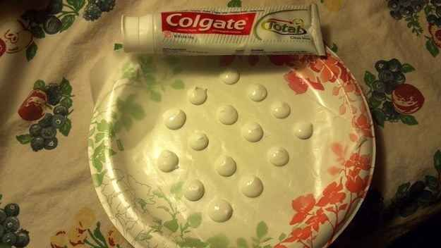 Make toothpaste dots. Blob out on a plate and sprinkle with baking soda. Let dry for two-three days and pop them into a resealable