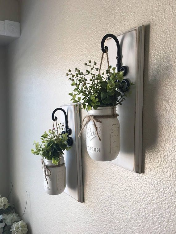 Set of Two Mason Jar Sconces with Greeney, Farmhouse Decor, Rustic Decor, Hanging Mason Jar Sconce, Mason Jar Decor, Hanging Planters,Wall D