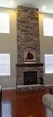 My Fireplace - Family Room: Design Room, Favorite Places, Living Room, Long Painting, Families Room, Stacked Stones Fireplaces, Stone Fireplaces, Large Metals, High Fireplaces