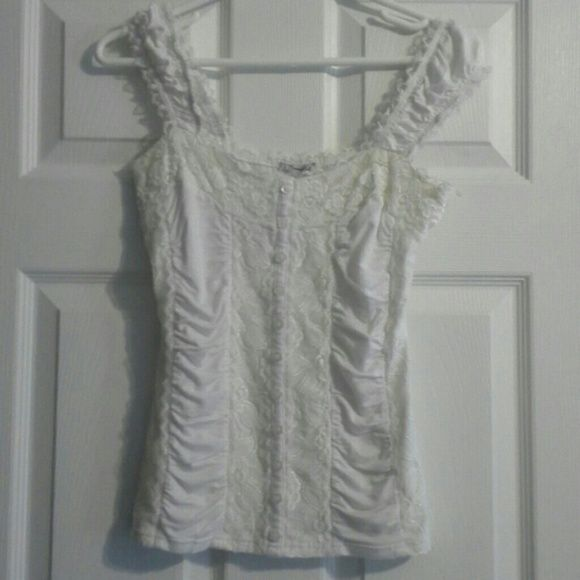 Body central white lace accented tank Form fitting corset like tank with lace accents. Rarely worn and comfortable. Body Central Tops Tank Tops