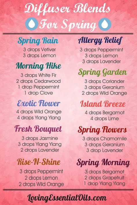 Essential Oils Diffuser Blends for Spring.  Allergy Relief, Spring Rain, Exotic Flower, Island Breeze and more.  Click here to find out the benefits of diffusing essential oil: www.lovingessenti...