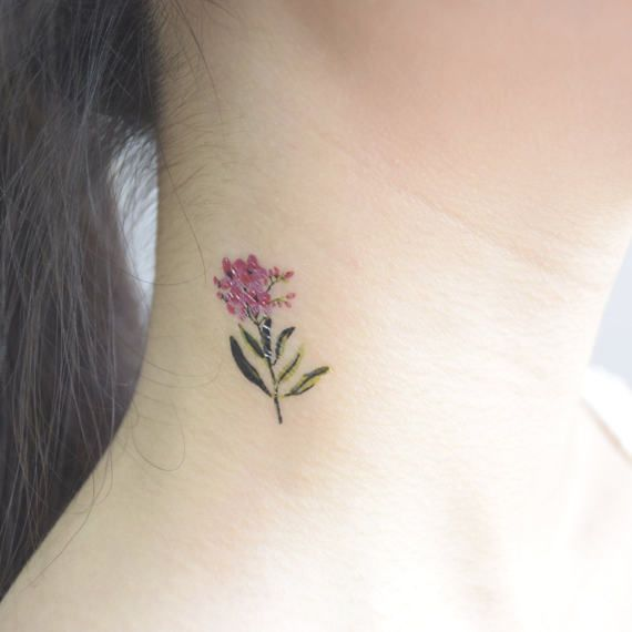 Vintage purple flower tattoos. Click to see more ideas!
