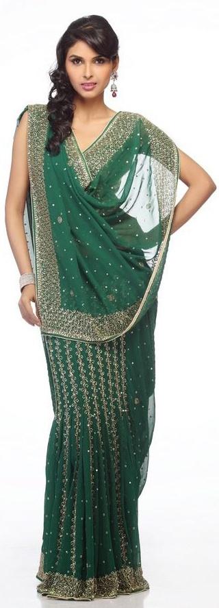 Kelly green lehanga saree