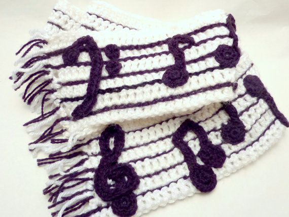 Crochet Music Note Scarf Reversible Piano Scarf Bass Clef