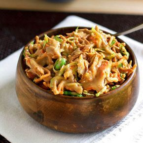 Asian Chicken Salad - green onions - shredded lettuce or slaw - whole almonds - carrots - cilantro - shelled edamame - chicken - low sodium soy sauce - 2 garlic cloves - minced ginger - sugar - 5 spice seasoning - 2 cups chow mein noodles - dry crunchy kind
