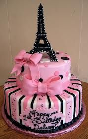 Pink striped and polka dot Eiffel tower cake!