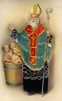 St. Nicolaas en de drie kinderen in de pekelvat.