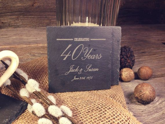 Slate Anniversary Coasters w/YearsNames & Date  by OTBengraving