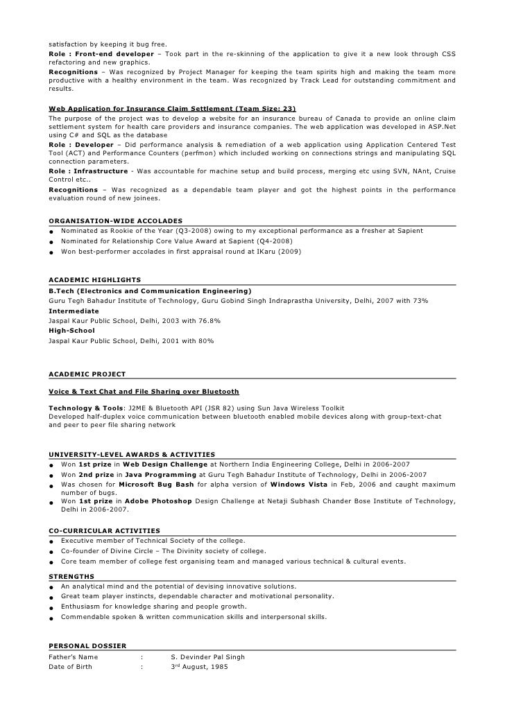 Resume Format For 5 Years Experience In Java Resume Format Job