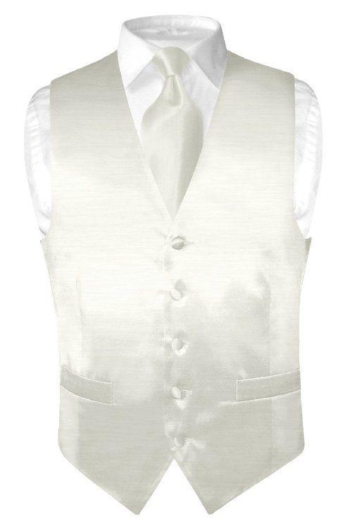 Biagio Men's Solid OFF-WHITE BAMBOO SILK Dress Vest Neck Tie Set size 3XL