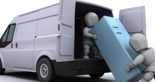 3D render of removal men loading a van