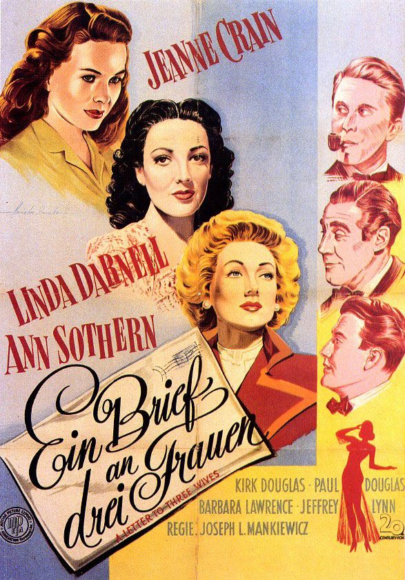 Movie Poster of the Week: The Films of Joseph L. Mankiewicz on Notebook | MUBI | Above: German poster for A Letter to Three Wives (Joseph L. Mankiewicz, USA, 1949).