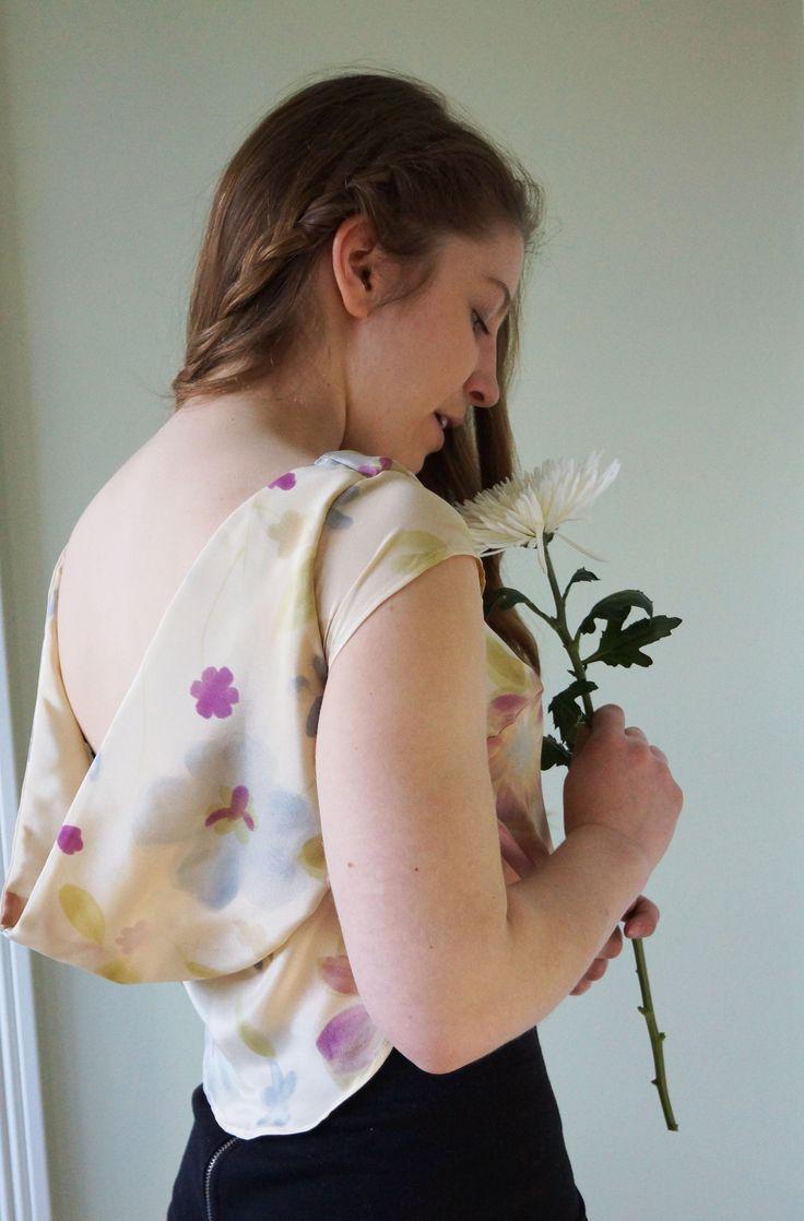 Silk georgette crop top with Monet-esque light fairy print.  Now available on www.zibbet.com/aislinn